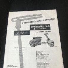 Voitures et Motocyclettes: LAMBRETTA SERVETA MOTO SCOOTER - ANUNCIO PUBLICIDAD RECORTE REVISTA - NO POSTER CATALOGO MANUAL. Lote 183996415