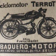 Coches y Motocicletas: TERROT, EL CICLOMOTOR DE CALIDAD INTERNACIONAL. BAQUERO MOTOR, GRANADA. . Lote 184564575