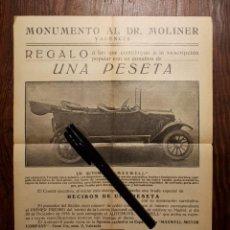Coches y Motocicletas: AUTOMOVIL MAXWELL 25 MONUMENTO AL DOCTOR MOLINER VALENCIA 1916. Lote 186267382