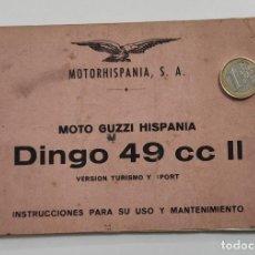 Coches y Motocicletas: INSTRUCCIONES USO MANTENIMIENTO GUZZI DINGO 49. Lote 189653276