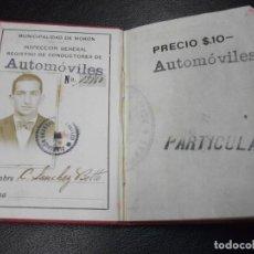 Coches y Motocicletas: 1929 CARNET DE CONDUCTOR DE AUTOMOVIL DE COCHE NACIONALIDAD PERU EN MORON CON EL REGLAMENTO. Lote 191148285