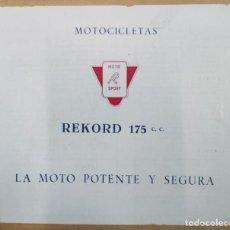 Coches y Motocicletas: PUBLICIDAD MOTOCICLETAS REKORD 175 CC.. Lote 191609541