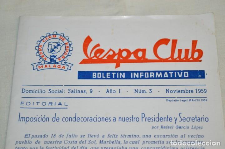 VESPA NOVIEMBRE 1.959 - VESPA CLUB DE ESPAÑA /MÁLAGA/ - BOLETÍN INFORMATIVO - NÚM. 3 - ¡MUY DIFÍCIL! (Coches y Motocicletas Antiguas y Clásicas - Catálogos, Publicidad y Libros de mecánica)