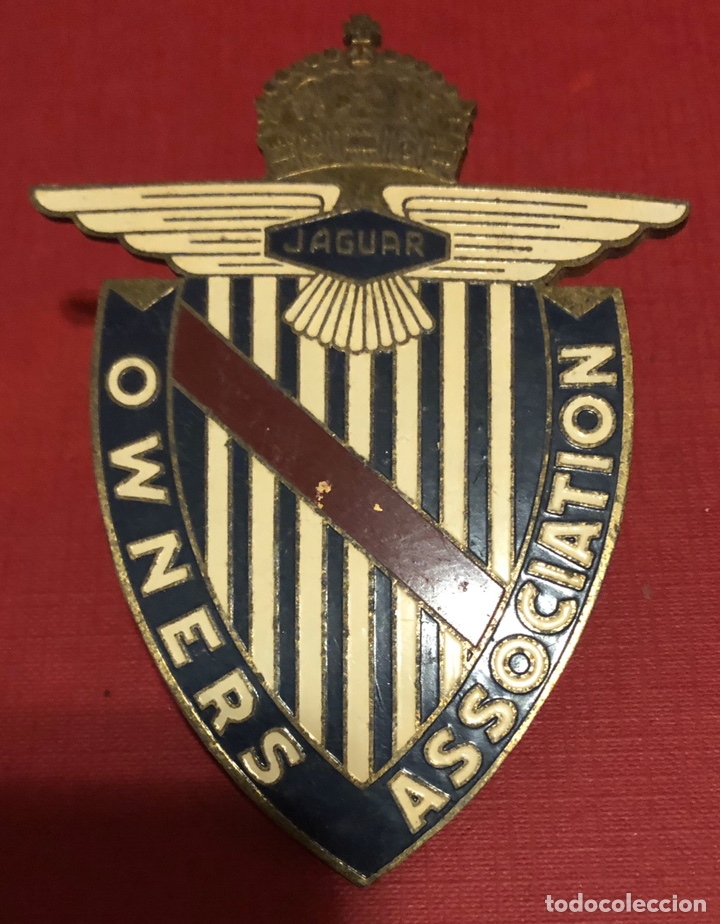 Coches y Motocicletas: Publicidad, antiguo emblema- placa en bronce esmaltado de JAGUAR, owners association. - Foto 2 - 192796660