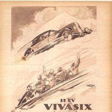 Coches y Motocicletas: 1928 HOJA REVISTA PUBLICIDAD RECORTE PRENSA ANUNCIO AUTOMÓVIL VIVA SIX 15 CV RENAULT 6 CILINDROS. Lote 192952165