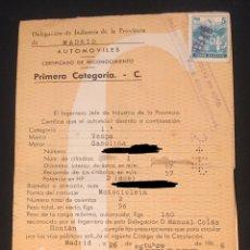 Coches y Motocicletas: DOCUMENTACION VESPA, 1967 COMPLETO, FICHAS TRASPASO VACIAS, PERMISO DE CIRCULACION, PAPELES. Lote 193089641