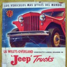 Coches y Motocicletas: JEEP TRUCKS ANTIGUO CATÁLOGO. WILLYS OVERLAND. RARO.. Lote 194606631