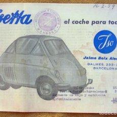 Coches y Motocicletas: ISETTA ISO JAIME BOIX. CARACTERISTICAS TÉCNICAS. PRESUPUESTO COMPRA. RARO.. Lote 194608442
