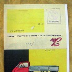 Coches y Motocicletas: ANTIGUO CATALOGO ISETTACARRO 500. ISO ISETA. CON BASCULANTE Y FURGÓN.. Lote 194707147