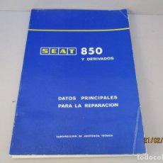 Coches y Motocicletas: REVISTA MANUAL DE TALLER SEAT 850 Y DERIVADOS FALTA UNA HOJA PAG 1 Y 2. Lote 194769381
