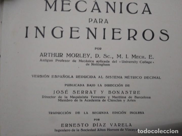 Coches y Motocicletas: Libro año 1934 MECANICA para INGENIEROS Arthur Morley Editorial Labor - Foto 3 - 194914673