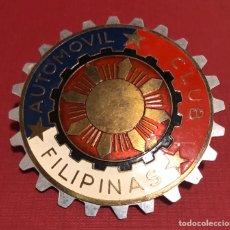Coches y Motocicletas: PUBLICIDAD; COCHE. PLACA ESMALTADA DE AUTOMÓVIL CLUB DE FILIPINAS. Lote 194952326