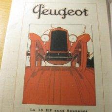 Coches y Motocicletas: ANTIGUO PEQUEÑO CARTEL AUTOMOVIL PEUGEOT 24 / 16 CM EN CARTON. Lote 195057996
