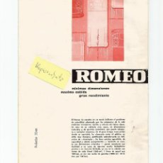 Coches y Motocicletas: ROMEO FURGÓN 1956 ALFA ROMEO ESPAÑA (ANTERIOR FADISA) FOLLETO 4 PÁGINAS 17X23CM. Lote 195090966