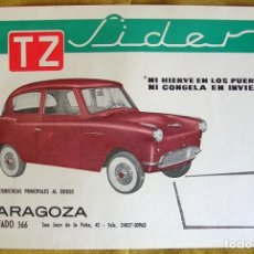 Voitures et Motocyclettes: ANTIGUO CATALOGO FOLLETO PUBLICIDAD COCHE CLASICO TZ SIDER. ZARAGOZA.. Lote 195113172