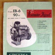 Coches y Motocicletas: ANTIGUO CATALOGO MOTOR CAMIÓN BARREIROS DIESEL EB-6 90 HP.. Lote 195115988