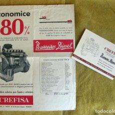 Coches y Motocicletas: ANTIGUO CATALOGO Y TARJETA MOTOR CAMIÓN BARREIROS DIESEL EB-6 90 HP.. Lote 195116340