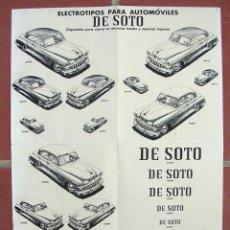 Coches y Motocicletas: ANTIGUO POSTER O PUBLICIDAD ELECTROTIPOS COCHE CLASICO DE SOTO.. Lote 195118858