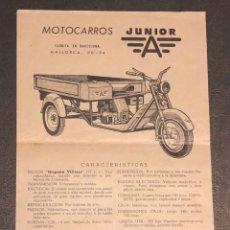 Coches y Motocicletas: PUBLICIDAD; FOLLETO PUBLICITARIO DE MOTOCARROS JUNIOR.. Lote 195235378