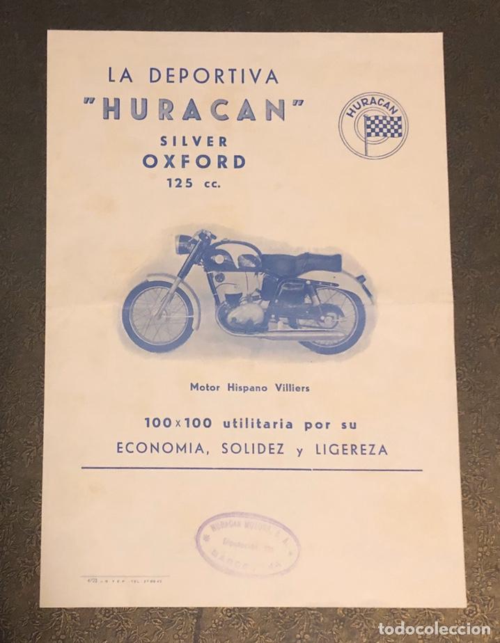 PUBLICIDAD; FOLLETO PUBLICITARIO DE MOTO LA DEPORTIVA HURACÁN, SILVER OXFORD 125CC. (Coches y Motocicletas Antiguas y Clásicas - Catálogos, Publicidad y Libros de mecánica)