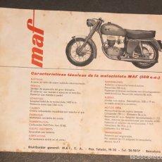 Coches y Motocicletas: PUBLICIDAD; FOLLETO PUBLICITARIO DE MOTO MAF.. Lote 195236246