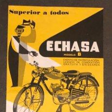 Coches y Motocicletas: PUBLICIDAD; MOTO. FOLLETO PUBLICITARIO DE VELO MOTOR, ECHASA. MODELO B. Lote 195280468