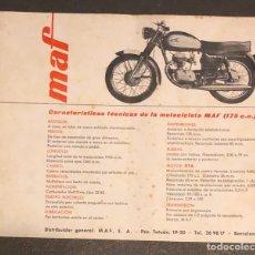 Coches y Motocicletas: PUBLICIDAD; MOTO. FOLLETO PUBLICITARIO DE LA MOTOCICLETA MAF 175C.C.. Lote 195281076