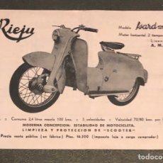 Coches y Motocicletas: PUBLICIDAD; MOTO. FOLLETO PUBLICITARIO DE LA MOTOCICLETA RIEJU ISARD 125.. Lote 195282012