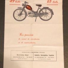 Coches y Motocicletas: PUBLICIDAD; MOTO. FOLLETO PUBLICITARIO DE VELOMOTORES GIMSON. 49CC Y 65CC.. Lote 195283098