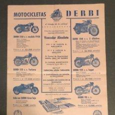 Coches y Motocicletas: PUBLICIDAD; MOTO. FOLLETO PUBLICITARIO DE MOTOCICLETAS DERBI.. Lote 195289880