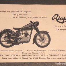 Coches y Motocicletas: PUBLICIDAD; MOTO. FOLLETO PUBLICITARIO DE MOTOCICLETA RIEJU, 175C.C.. Lote 195291405
