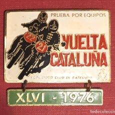 Coches y Motocicletas: PUBLICIDAD; MOTO. PLACA ESMALTADA DE LA XLVI VUELTA A CATALUÑA. 1976. Lote 195296986