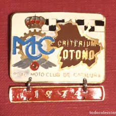 Coches y Motocicletas: PUBLICIDAD; MOTO. PLACA ESMALTADA DEL REAL MOTO CLUB DE CATALUÑA. 1974.. Lote 195297487