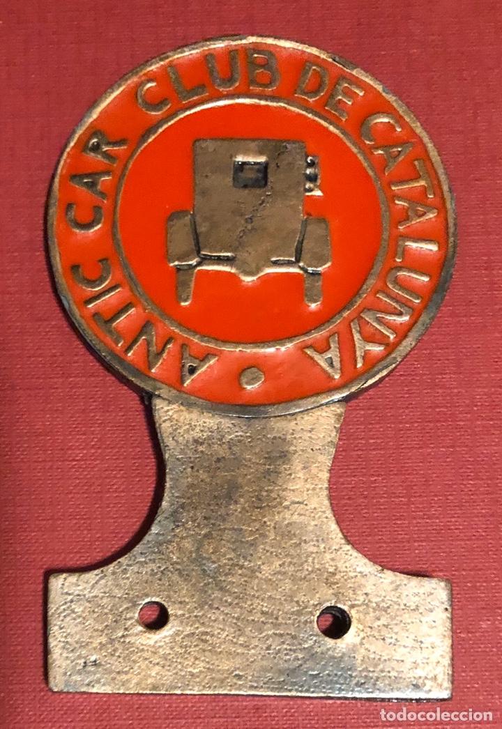 Coches y Motocicletas: Publicidad; coche. Antigua placa del Antic Car Club de Catalunya. - Foto 2 - 195333551
