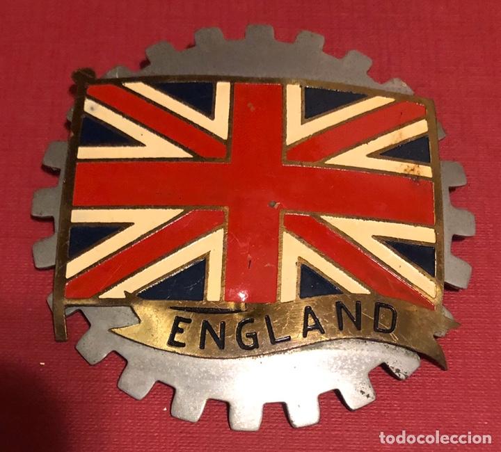 Coches y Motocicletas: Publicidad; antigua placa esmaltada para coche o moto, de la bandera de Inglaterra. - Foto 2 - 195334915