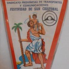 Coches y Motocicletas: BANDERIN SINDICATO PROVINCIAL TRANSPORTES COMUNICACIONES FESTIVIDAD SAN CRISTOBAL VALENCIA 1969. Lote 195343940