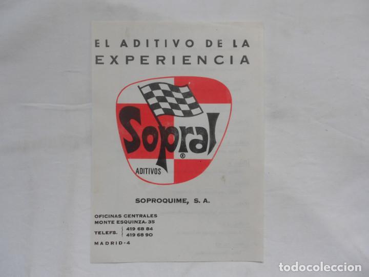 ANTIGUO FOLLETO PUBLICITARIO ADITIVOS SOPRAL (Coches y Motocicletas Antiguas y Clásicas - Catálogos, Publicidad y Libros de mecánica)