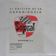 Coches y Motocicletas: ANTIGUO FOLLETO PUBLICITARIO ADITIVOS SOPRAL. Lote 195369781