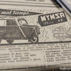 Coches y Motocicletas: MYMSA 175CC MOTOFURGONETA CARROZADA, A MAL TIEMPO.. Lote 195431181