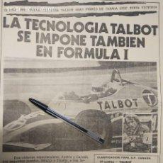 Coches y Motocicletas: TALBOT SE IMPONE TAMBIEN EN FORMULA 1, MOSA GRANADA.. Lote 195431567
