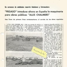 Coches y Motocicletas: PEGASO ALLIS CHALMERS TRACTOR - PEGASO INTRODUCE -, FOLLETO DE UNA CARA 1969. Lote 195455767