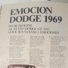Coches y Motocicletas: DODGE 1969. 19 X 22 CM. PUBLICIDAD DE LA EPOCA. Lote 195489686