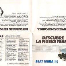 Coches y Motocicletas: SEAT TERRA LA NUEVA TERRA FOLLETO PEQUEÑO PLEGABLE 42X20CM ABIERTO, 1987. Lote 195541697