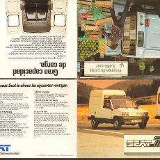 Coches y Motocicletas: SEAT TRANS LOS NUEVOS SEAT FOLLETO PEQUEÑO PLEGABLE 42X20CM ABIERTO, 1982. Lote 195541773