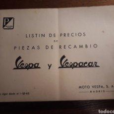 Coches y Motocicletas: VESPA Y VESPACAR , CATÁLOGO DE PRECIOS.. Lote 195549635