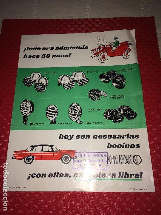 BOCINAS MIXO - HOJA PUBLICITARIA - AÑO 1964 - DISTRIBUIDOR EN MURCIA; VDA. DE LUIS MEDINA RAEL (Coches y Motocicletas Antiguas y Clásicas - Catálogos, Publicidad y Libros de mecánica)