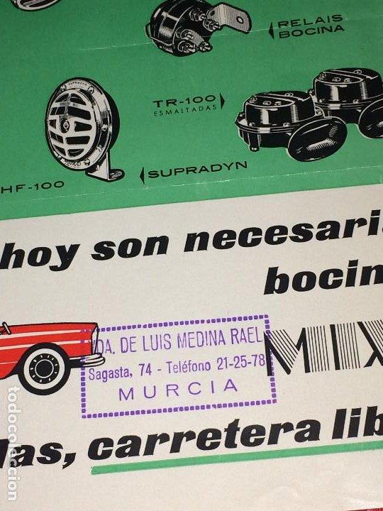 Coches y Motocicletas: BOCINAS MIXO - HOJA PUBLICITARIA - AÑO 1964 - Distribuidor en MURCIA; VDA. DE LUIS MEDINA RAEL - Foto 2 - 197136691