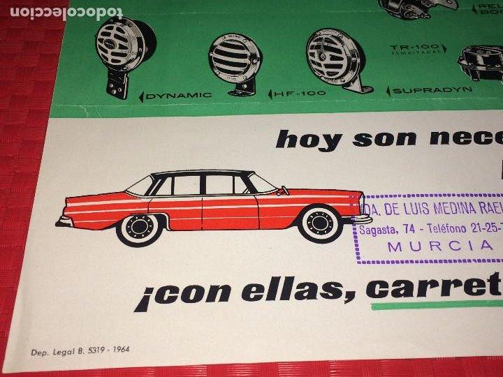 Coches y Motocicletas: BOCINAS MIXO - HOJA PUBLICITARIA - AÑO 1964 - Distribuidor en MURCIA; VDA. DE LUIS MEDINA RAEL - Foto 7 - 197136691