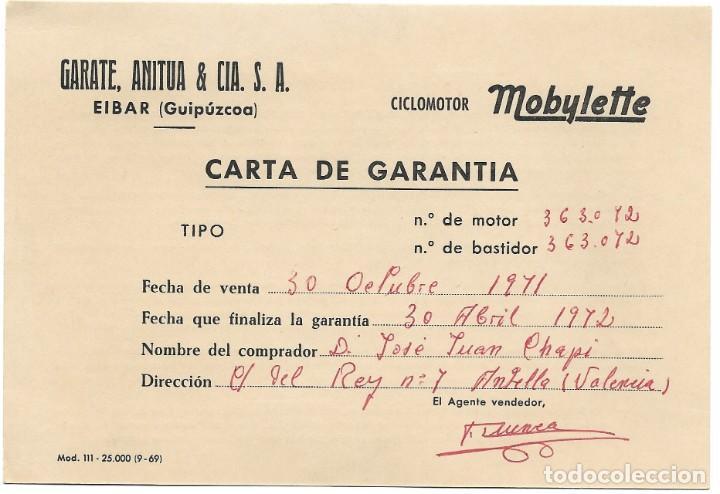 CARTA DE GARANTÍA CICLOMOTOR MOBYLETTE FECHADA EN 1971 - GARATE, ANITUA & CIA - EIBAR (GUIPÚZCOA) (Coches y Motocicletas Antiguas y Clásicas - Catálogos, Publicidad y Libros de mecánica)
