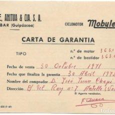 Coches y Motocicletas: CARTA DE GARANTÍA CICLOMOTOR MOBYLETTE FECHADA EN 1971 - GARATE, ANITUA & CIA - EIBAR (GUIPÚZCOA). Lote 197265647